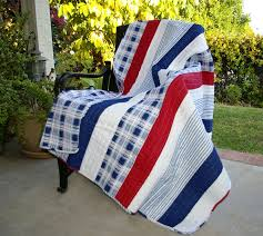 Stripe Red White & Blue Quilted Throw & Nautical Stripe Red White & Blue Quilted Throw Adamdwight.com