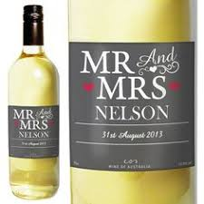 personalised white wine mr and mrs label from personalised gifts only 16 99