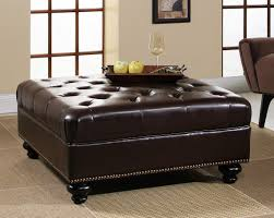 furniture design table. Furniture Square Dark Brown Leather Storage Ottoman Coffee Table With Black Wooden Legs On Rug Entrancing Design