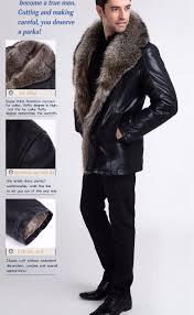 mens wear fur collar leather jacket black fur jacket men sheepskin coats thick warm winter men
