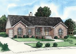 ranch style home has two car side entry garage