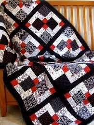 Disappearing nine patch - lovely | Places to Visit | Pinterest ... & Gorgeous Black, white and red, custom made Queen size quilt, queen bedding | Adamdwight.com