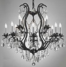 classic modern oversized crystal chandeliers with black metal frame ideas
