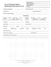 Cake Order Forms Plus Cake Order Form Template Free Wedding T Sample