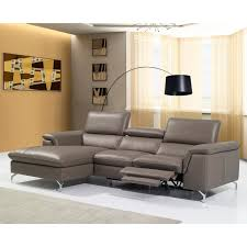 modern grey leather sectional with recliner angela jpg
