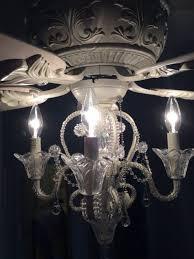 living surprising crystal chandelier ceiling fan