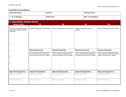 Performance Review Forms Coaching For Excellence Employee Annual Performance Evaluation