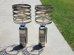 picture of vintage fire extinguisher lamps