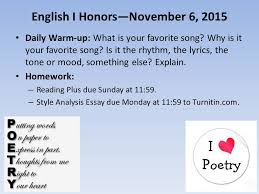 english i honors daily warm up what is your  1 english