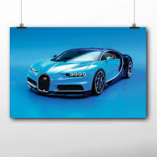 Find more metal prints about bugatti. Super Sport Car Poster Bugatti Chiron Blue Auto Wall Art Canvas Print For Living Room Decor Framed Painting Painting Calligraphy Aliexpress