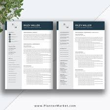 Modern Creative Resume Template Professional Resume Template Cv Template Creative Resume Modern Resume Design Cover Letter Ms Word The Riley Resume