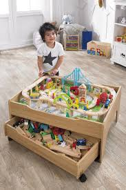 120 piece wooden train set reversible city table with storage drawer train toys 1 of 5only 5 available