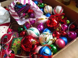 Miscellaneous baubles and stuff: (and another puffy decoration that I made)  Most of these baubles were from a local charity shop last year for 10p  each, ...