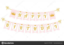 Pendant Banner Cute Pennant Banner As Flags With Letters Happy Birthday In Princess
