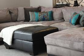 Tan Couch Living Room Microfiber Tan Sectional Living Room With Brown Leather Ottoman
