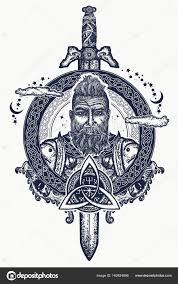 Viking Tetování A Tričko Design Vousatý Barbar Stock Vektor