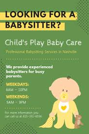 Professional Babysitting Services Customize 310 Babysitting Templates Postermywall