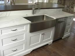 image of stainless farmhouse sink with backsplash