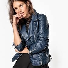 la redoute collections women leather biker jacket shawl collar zip fastening icesdxk