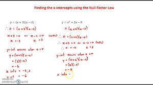 finding x intercepts of quadratic equations