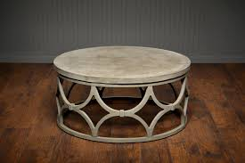 outdoor round concrete coffee table