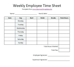 Timesheet Word Free Printable Templates Weekly Employee Time Sheet Template