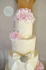 pink ivory lace wedding cake
