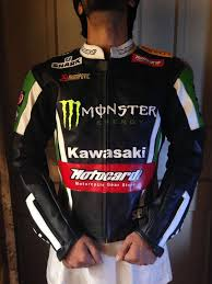 monster kawasaki motorbike racing leather jacket with ce protections motorcycle jacket