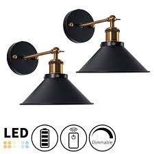 It comes with 3 aa batteries along with 50 hours run time. Battery Wireless Retro Wall Sconce Adjustable Arm Remote Dimmable Decorative Light Retro Wall Sconce Gallery Wall Lighting Battery Powered Lamp
