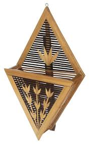 wall mounted letter rack in bamboo 13 5 hand woven light dark brown mail holder with