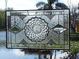 vintage stained glass plate panel depression glass fostoria american window valance
