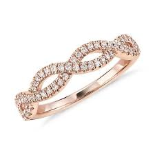 infinity ring diamond. infinity twist micropavé diamond wedding ring in 14k rose gold (1/5 ct. tw.)