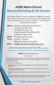 Professional Membership On Resumes Resume Workshop Info Session Asme Metro Detroit Section