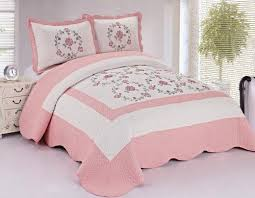 115 best Bedrooms images on Pinterest | Burlap bedding, Colors and ... & 3pcs Off White Pink Embroidery Floral Fully Quilted Bedspread Coverlet Set  Queen JD Home http: Adamdwight.com