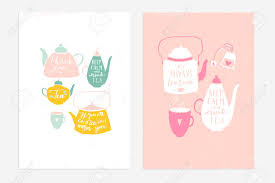 2 Hand Drawn Vintage Prints With Hand Lettering Tea Quotes