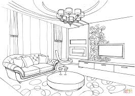 Living Room Coloring Living Room With Ornament Coloring Page Free Printable Coloring