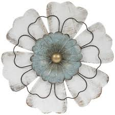 distressed white turquoise flower