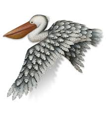20 gray pelican in flight metal wall