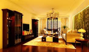 romantic yellow living room with glossy wooden flooring
