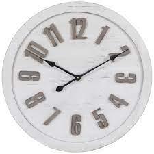 round whitewash wood wall clock hobby