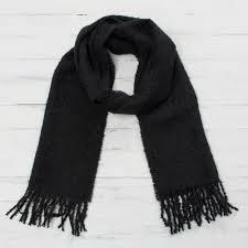 100 alpaca wrap scarf in solid black from peru andean delight in black