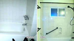 s solid surface shower wall options bathrooms with subway tile and shiplap