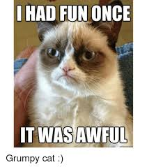 grumpy cat i had a birthday once. Beautiful Once Memes  And Cat HAD FUN ONCE IT WAS AWFUL Grumpy Cat  Inside Cat I Had A Birthday Once T