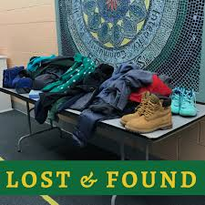 ampamp prep table: there is a table outside the meeting room this week with a number of lost and found items displayed on it