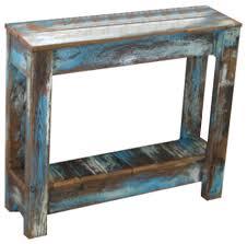 E Heavily Distressed Blue Combo Side Table