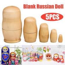 details about 5pcs blank wooden nesting dolls matryoshka animal russian doll paint gift set