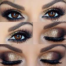 perfect for brown e s gold smokey eye a little too much make up for every day but very pretty for a night out