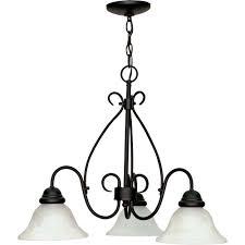 glomar adria 3 light textured flat black chandelier with alabaster swirl glass