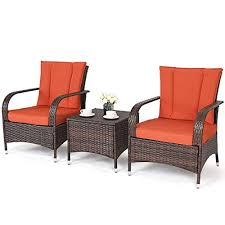 tangkula 3 piece patio furniture set wicker rattan outdoor patio conversation set with 2 cushioned chairs end table backyard garden lawn set chill