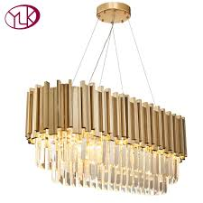 youlaike luxury modern crystal chandelier for dining room rectangle luxury living room hanging gold led crystal lamps chandeliers chandelier earrings